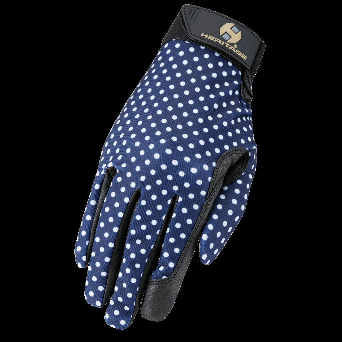 Heritage Gloves Performance Glove Navy Polka Dots
